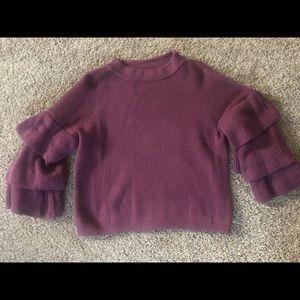 Flutter sleeve hip length sweater